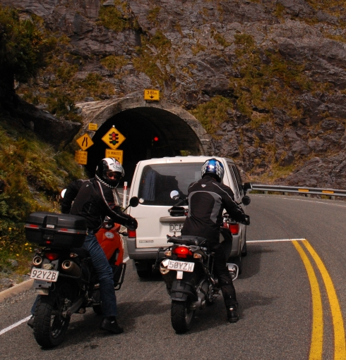Short wait at the west side of Homer Tunnel